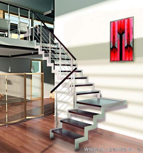 Luxe open rvs kwartslagtrap met houten treden allstairs - Moderne houten trap ...