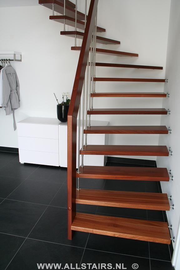 Mahonie kwartslagtrap allstairs trappen benelux - Moderne trap kwartslag ...