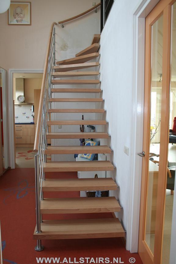 Kwartslagtrap met beuken treden allstairs trappen - Moderne trap kwartslag ...
